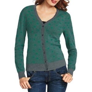 CAbi 903 Green Gray Polka Dot Cardigan Sweater S